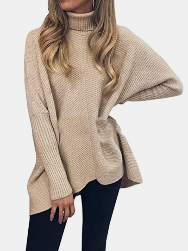 Casual Solid Color High Neck Plus Size Winter Sweater for Women