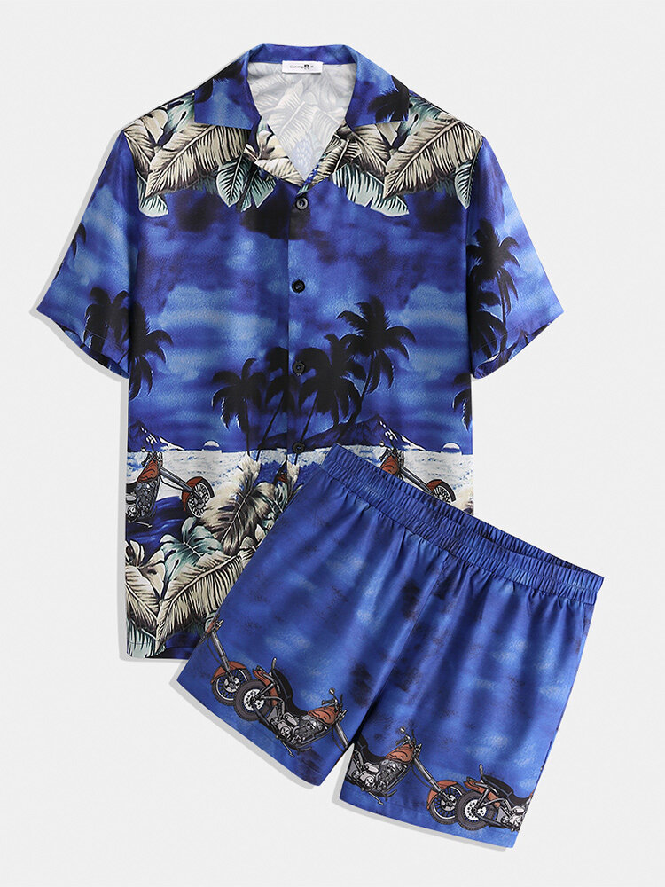 Plus Size Tropical Print Holiday Suits Two Pieces Short Sleeve Loose Cozy Beach Loungewear for Men