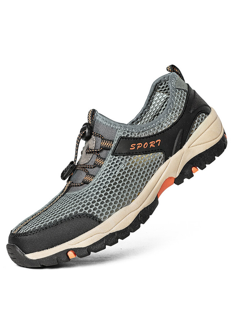 Men Round Toe Mesh Lace Up Outdoor Hiking Water Hiking Shoes