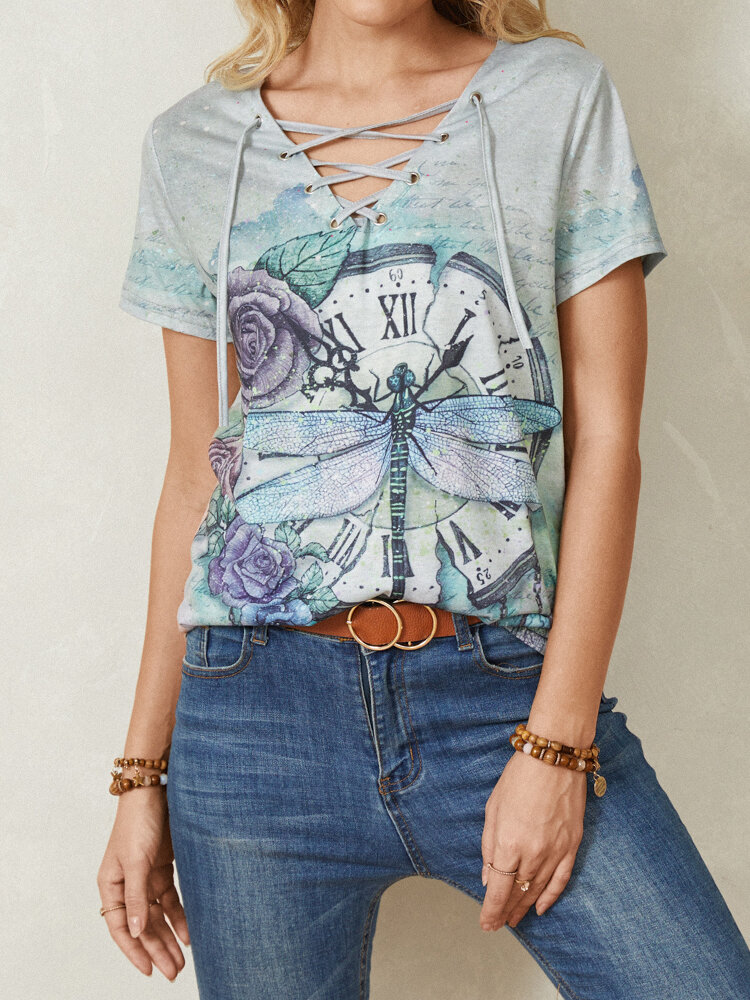 Calico Dragonfly Print Short Sleeve V-neck Knotted Casual T-Shirt