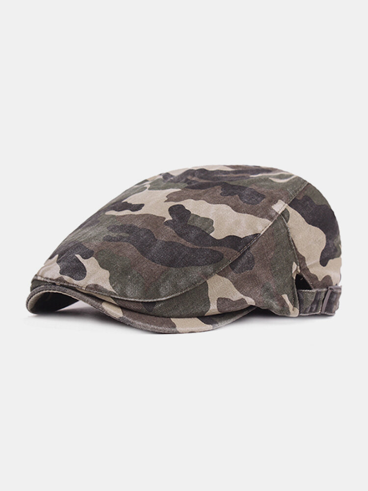 Men Cotton Camouflage Beret Caps Newsboy Buckle Adjustable Casual Outdoors Peaked Cabbie Hat