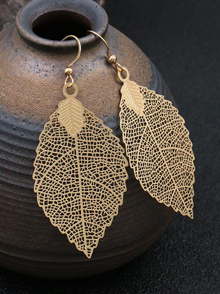 Bohemia Leaf Tassel Women Earrings Hollow Maple Leaf Pendant Earrings Jewelry Gift