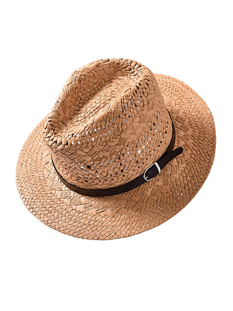 Unisex Summer Foldable Sunscreen Jazz Hat Casual Breathable Beach Sun Straw Fisherman Hat