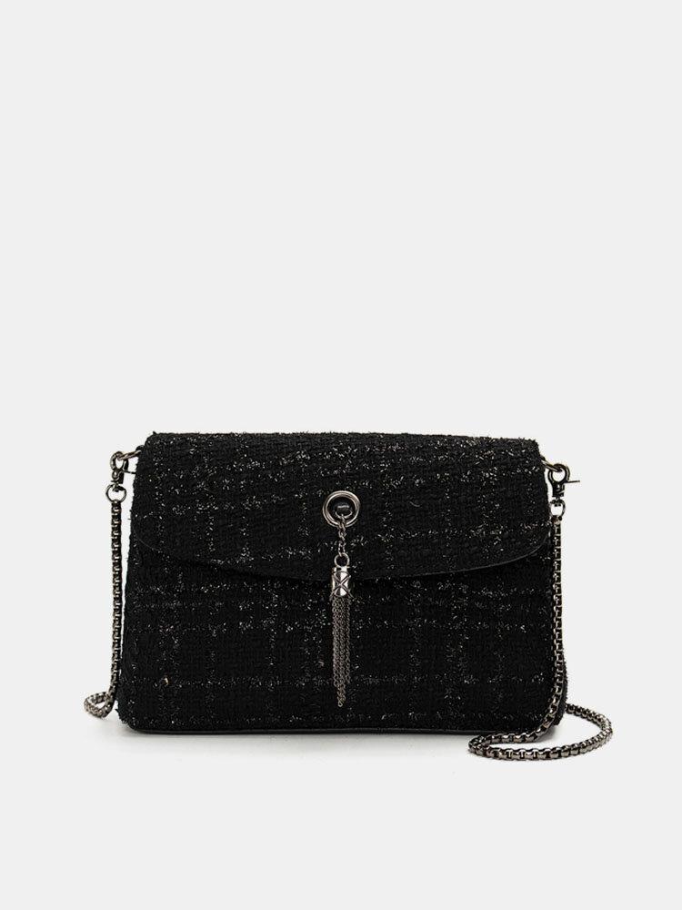 Women Elegant Woollen Cloth Tassel Chain Shoulder Bag Crossbody Bag