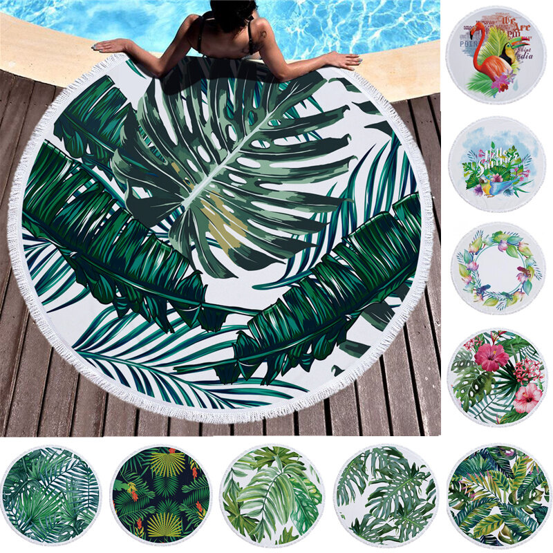 Summer Leaf Round Beach Towel With Tassel Picnic Rug Driftsand Pattern Microfiber Shower Bath Towel Travel Blanket Swimming Cover Bikini Shawl