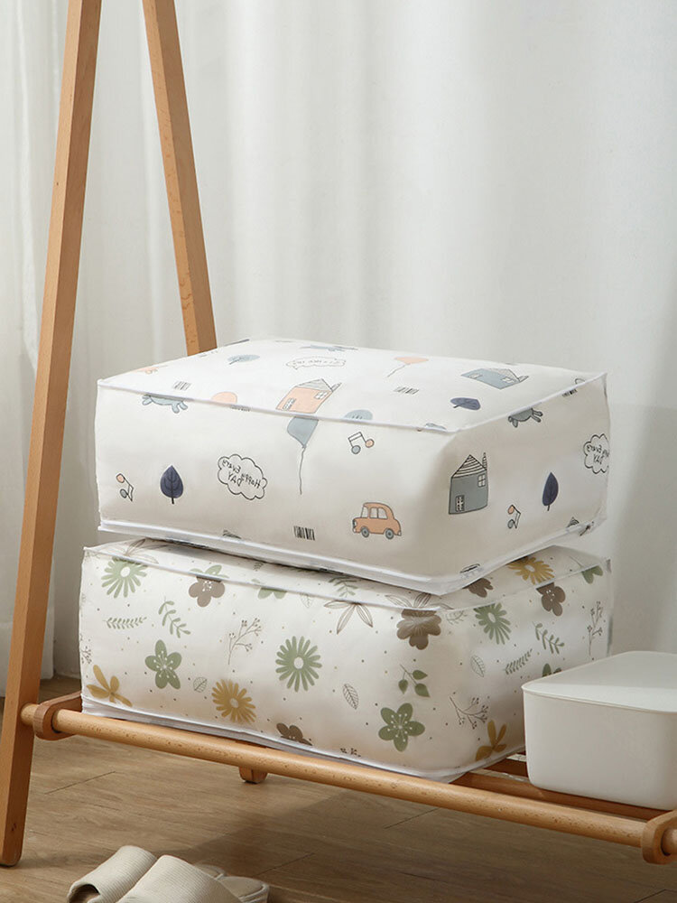 1PC Foldable Waterproof Quilt Wardrobe Organizer Clothes Blanket Storage Finishing Bag Home Dust Moisture-proof Washable Printed Quilts Bags