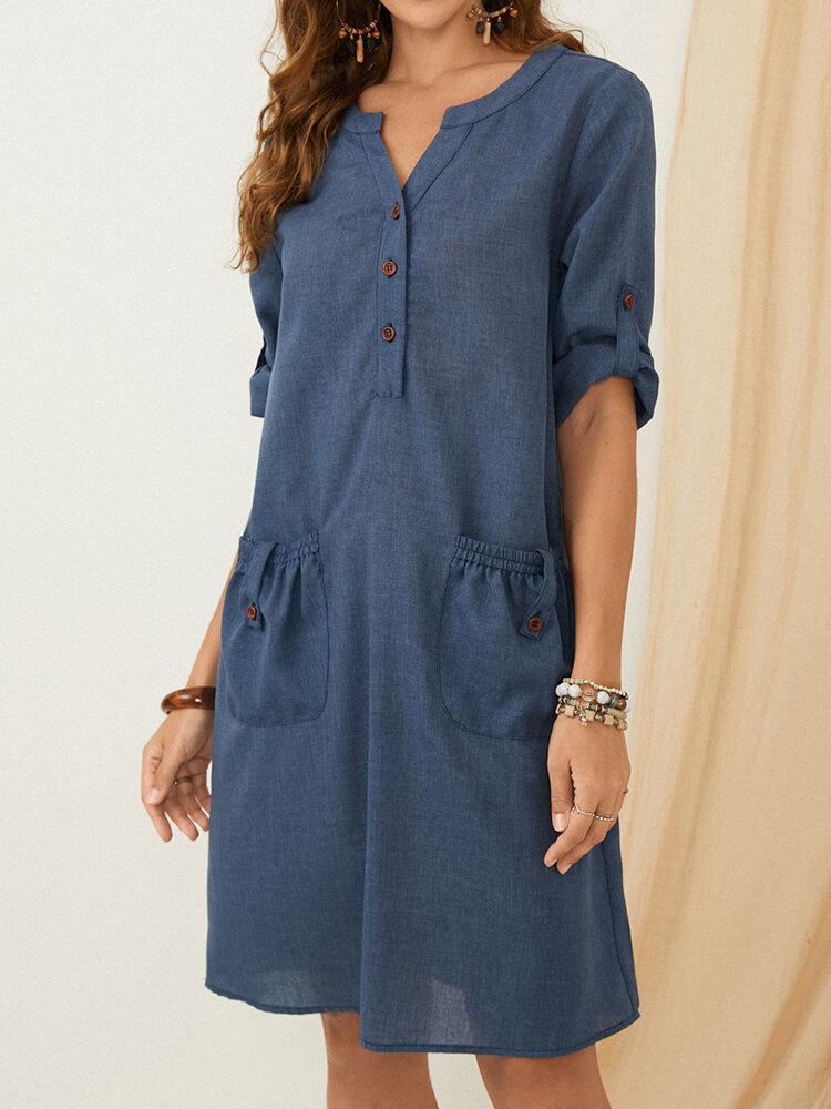 Solid Color V-neck Button Half Sleeve Pockets Casual Dress