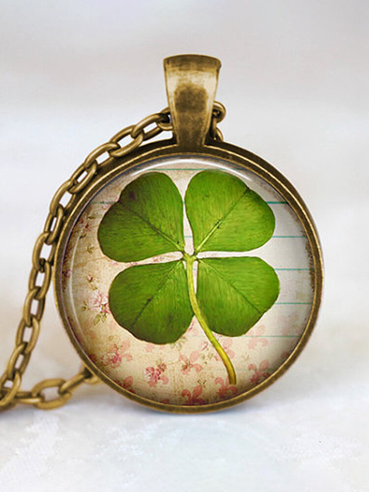 Vintage Glass Printed Women Necklace Clover Pendant Necklace Jewelry Gift