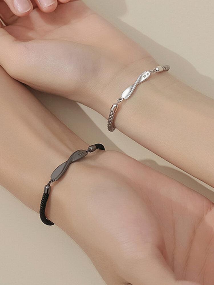 1 Pair 925 Silver Couple Bracelet Adjustable Mobius Bracelet Valentine's Day Gift
