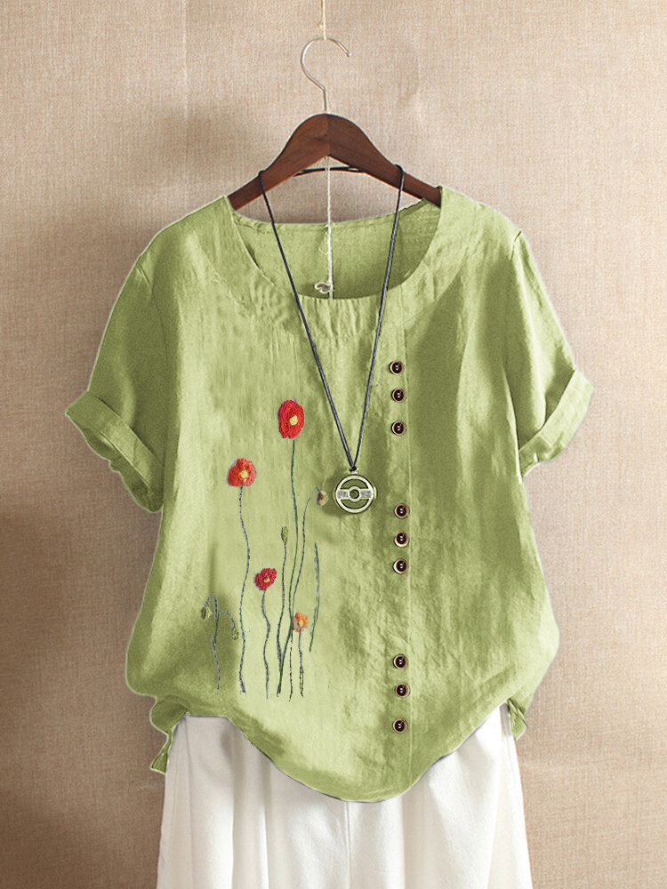 O-neck Flower Embroidered Short Sleeve T-shirt For Women