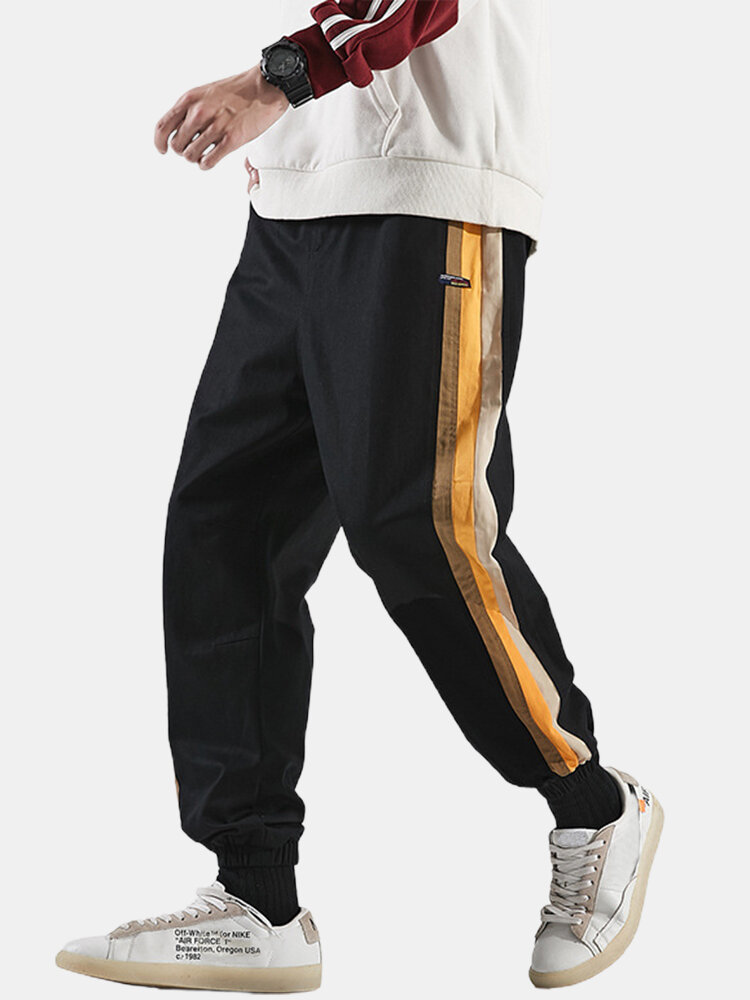 Mens Side Striped Applique Cotton Drawstring Cuffed Jogger Pants