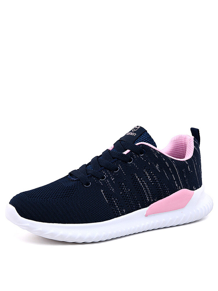 Women Comfy Knitted Lace Up Wide Fit Walking Sneakers