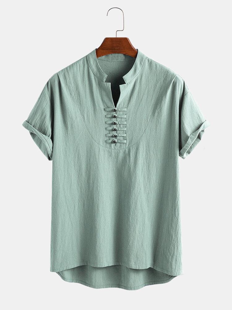 Men 100% Cotton Oriental Button Short Sleeve Casual Henley Shirt