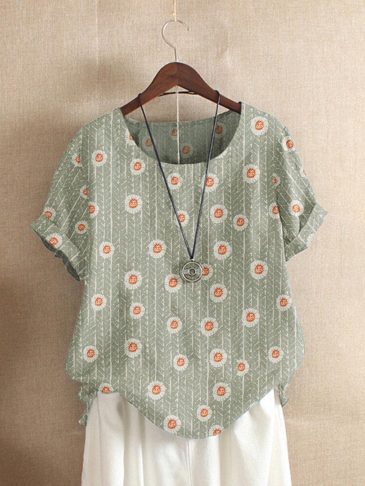 Floral Print Striped O-Neck Short Sleeve T-shirt