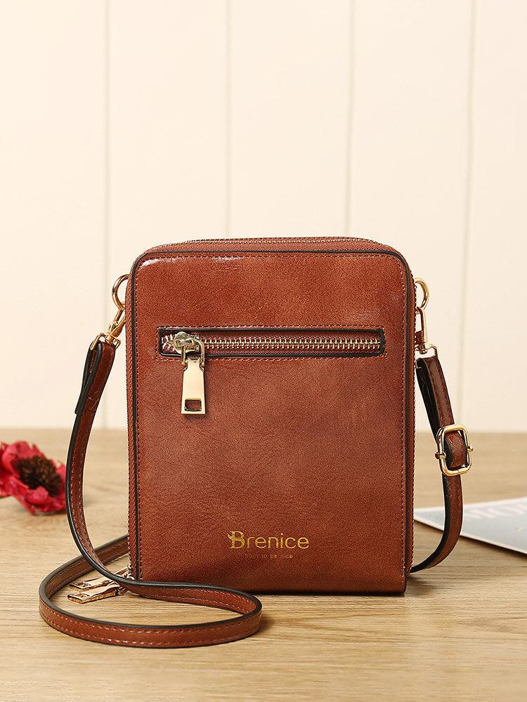 Women Design Multifunction Phone Bag Oil Wax Leather Crossbody Bag