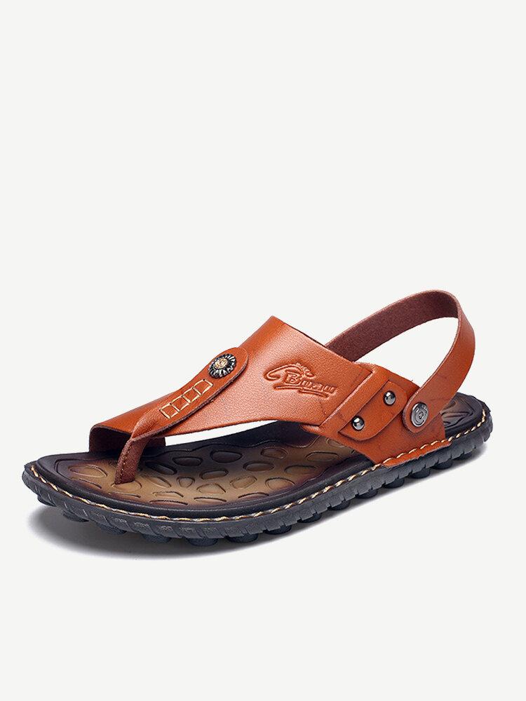 Sandalias estilo playa casuales cómodas con tira en el dedo con dos maneras de calzar para hombres