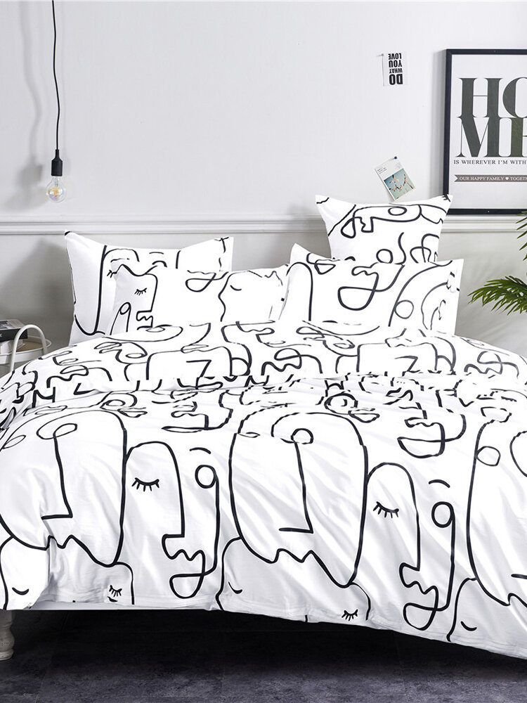 Pure Cotton Bedding Set Duvet Cover Pillowcase Fitted Flat Bedclothes Abstract Wave Nordic Bed Linen