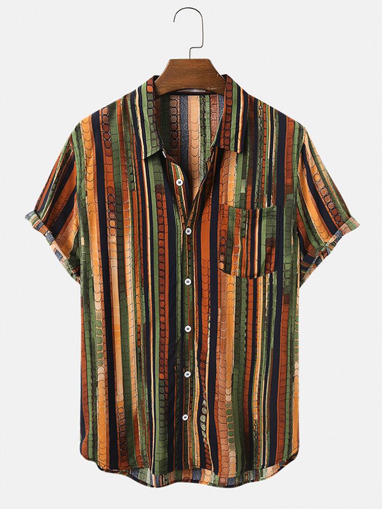 Mens Vintage Multi Color Striped Casual Chest Pocket Short Sleeve Shirts