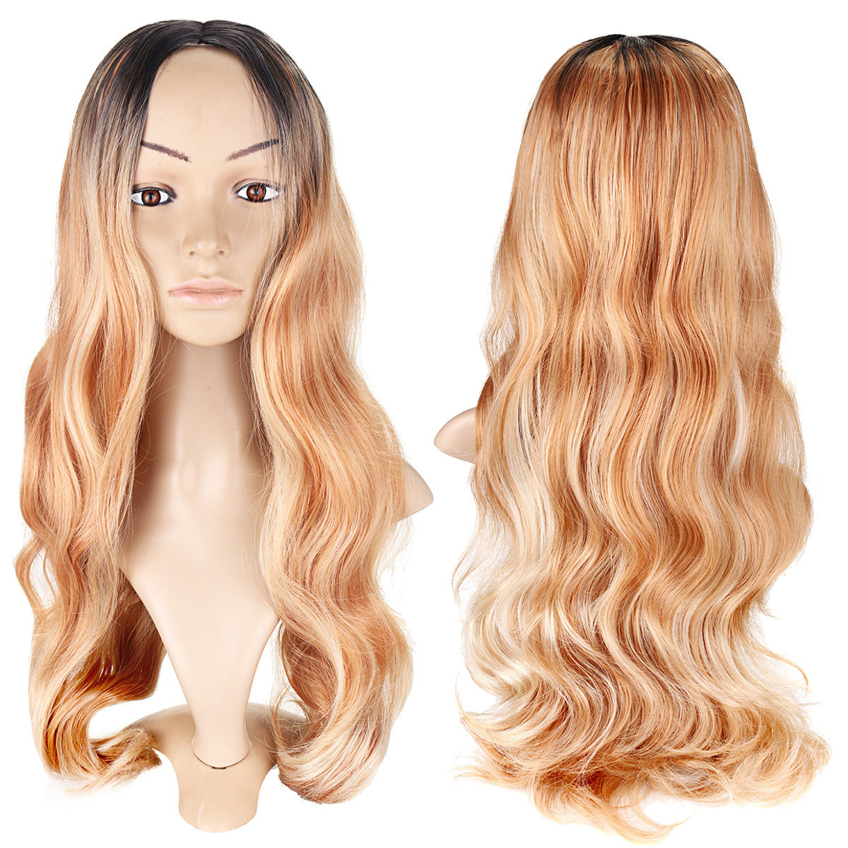 59d85dac1 Women Long Curly Synthetic Wigs Blonde Heat Resistant Synthetic Hair  Natural Wavy Wigs - NewChic