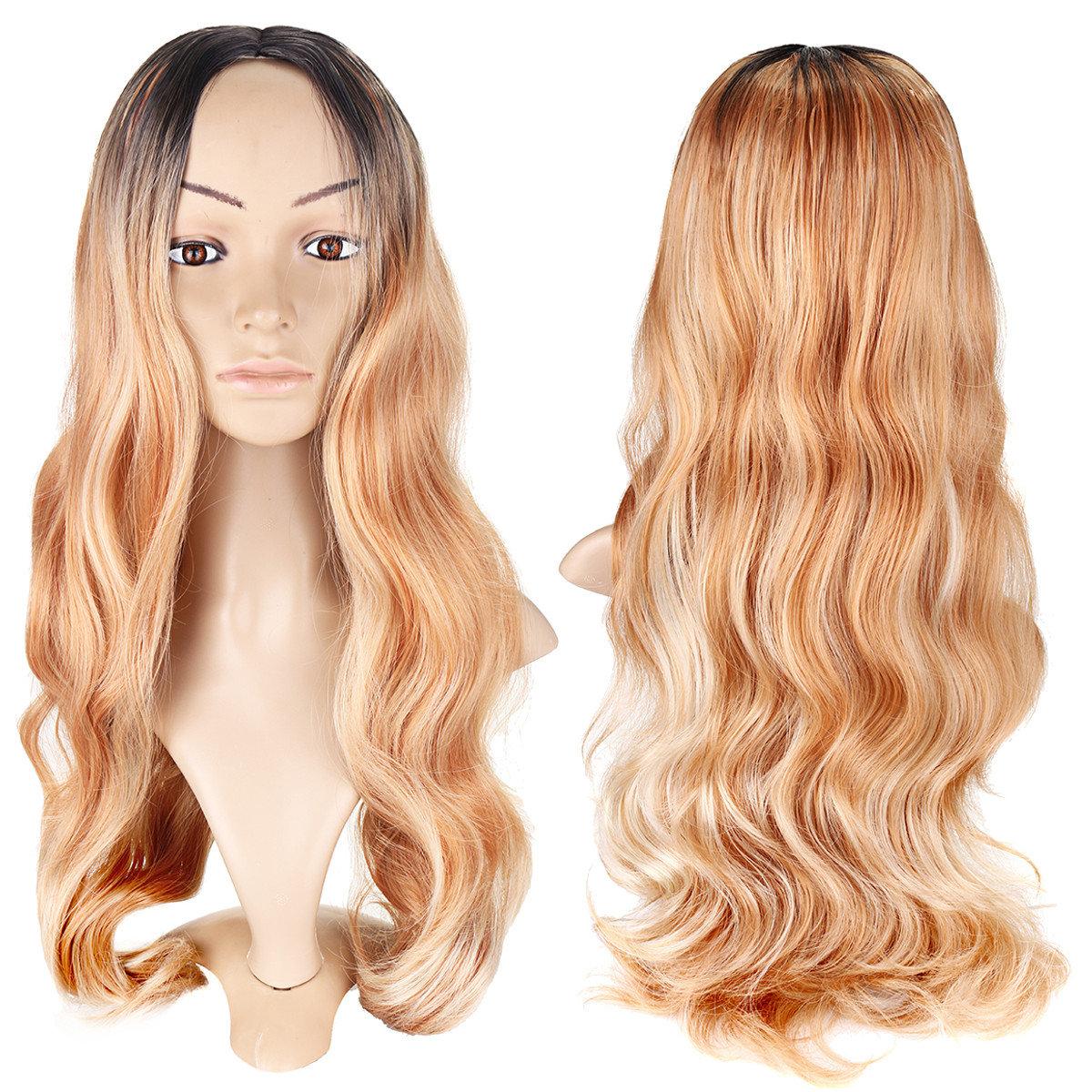 Women Long Curly Synthetic Wigs Blonde Heat