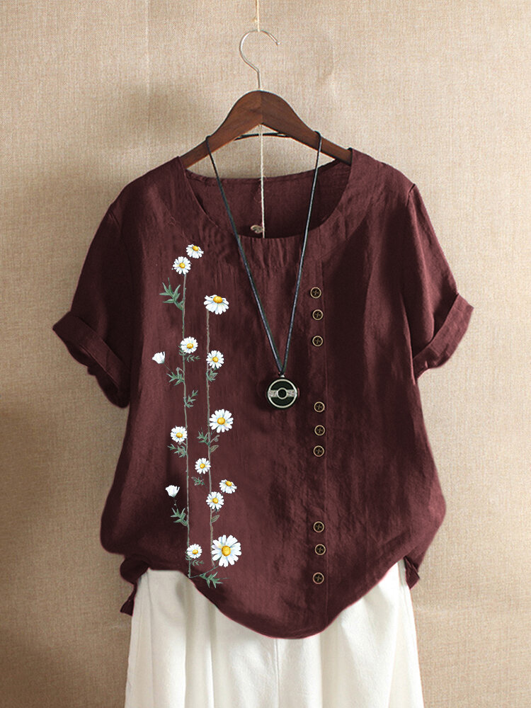 Floral Printed Short Sleeve Button T-shirt For Women
