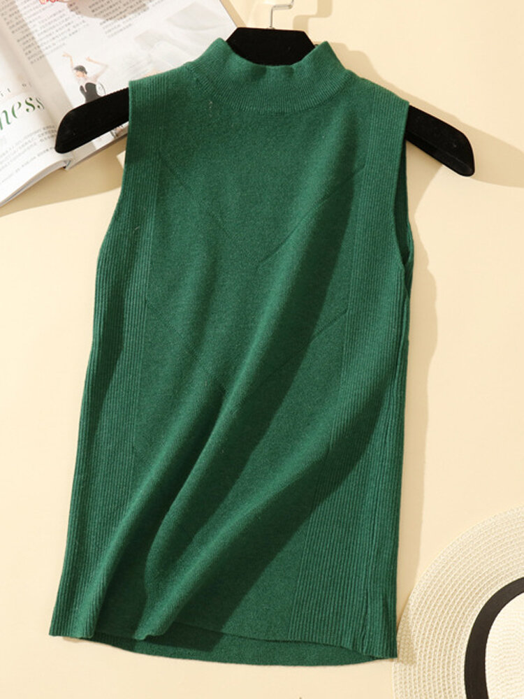 Solid Color Casual Sleeveless Knitting Sweater