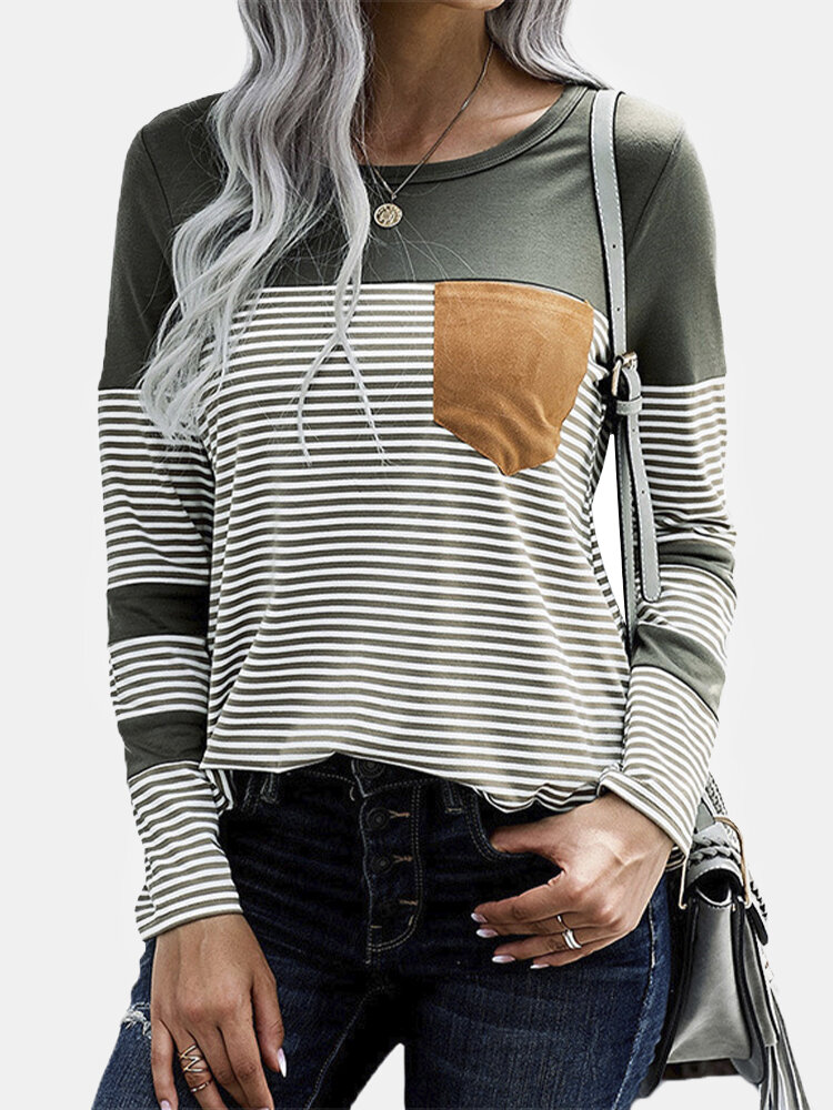 Striped Patchwork Long Sleeve O-neck Casual T-Shirt For Women