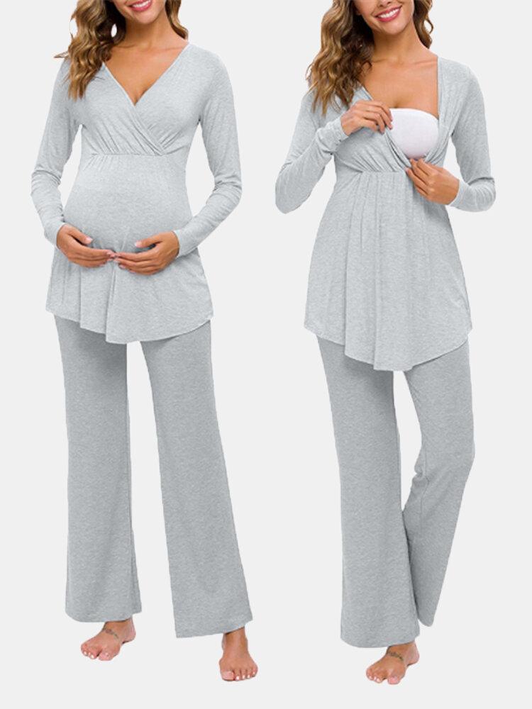 Traje de pijama de maternidad de manga larga con cuello en V de maternidad multifuncional