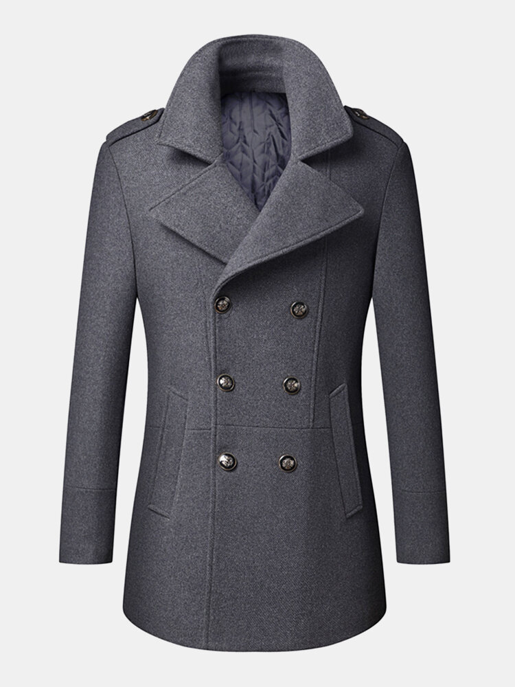 Mens Woolen Double Breasted Lapel Collar British Style Overcoats