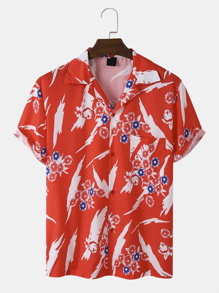 Mens Flower Pattern Pocket Short Sleeve Button Up Revere Collar Shirt