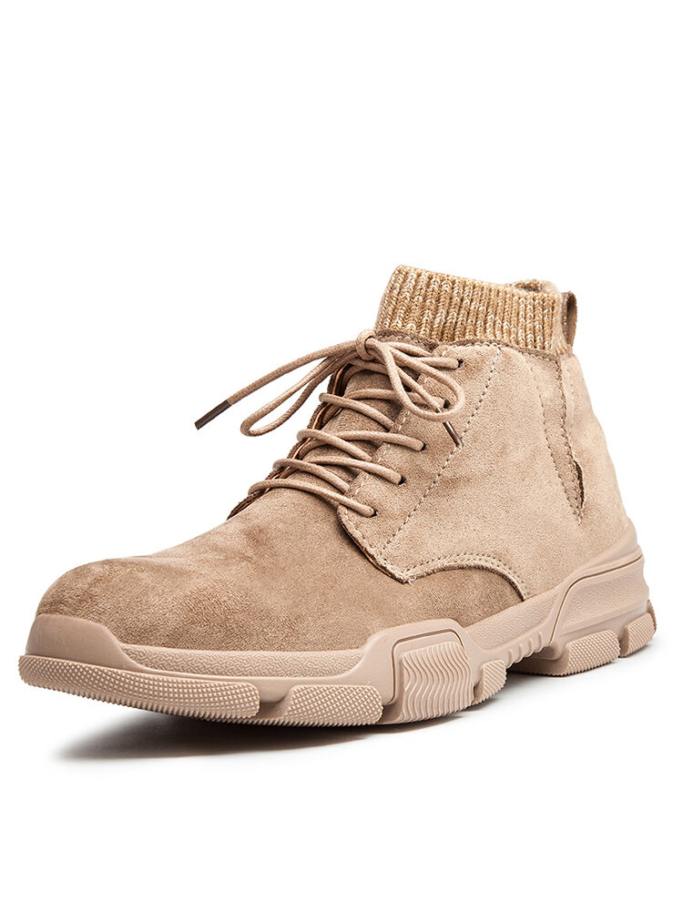 Men Synthetic Suede Splicing Warm Plush Lining Casual Ankle Boots