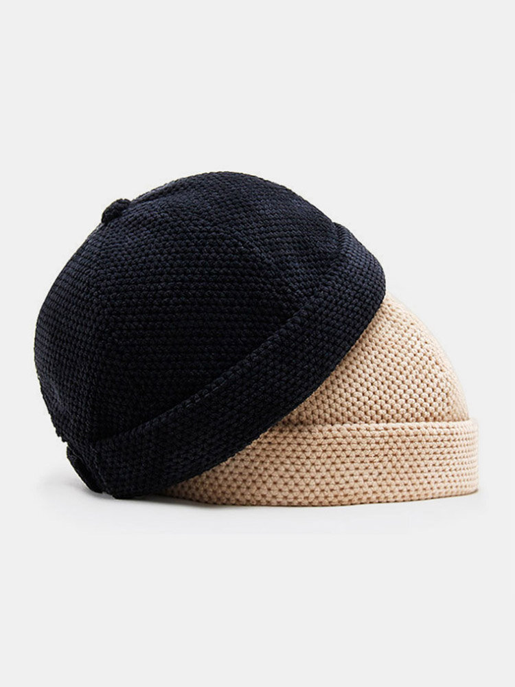 Men Cotton Knitted Solid Color British Vintage Brimless Beanie Landlord Cap Skull Cap