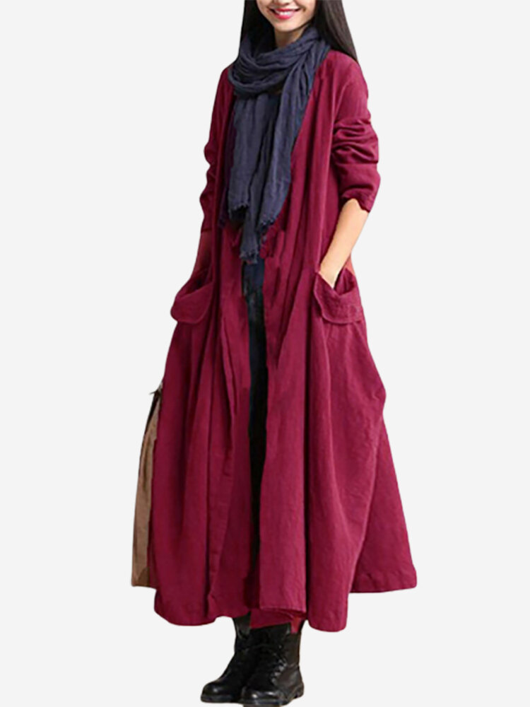 Vintage Lace Up Long Sleeve Pocket Maxi Coats For Women