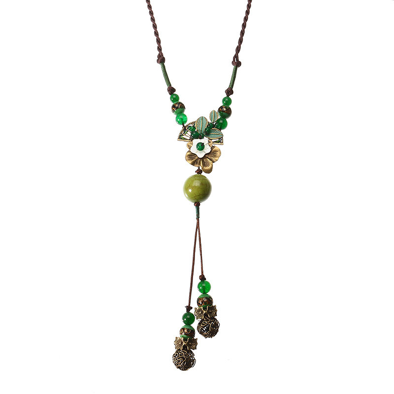 Women's Ethnic Necklace Green Agate Flower Ceramic Necklace