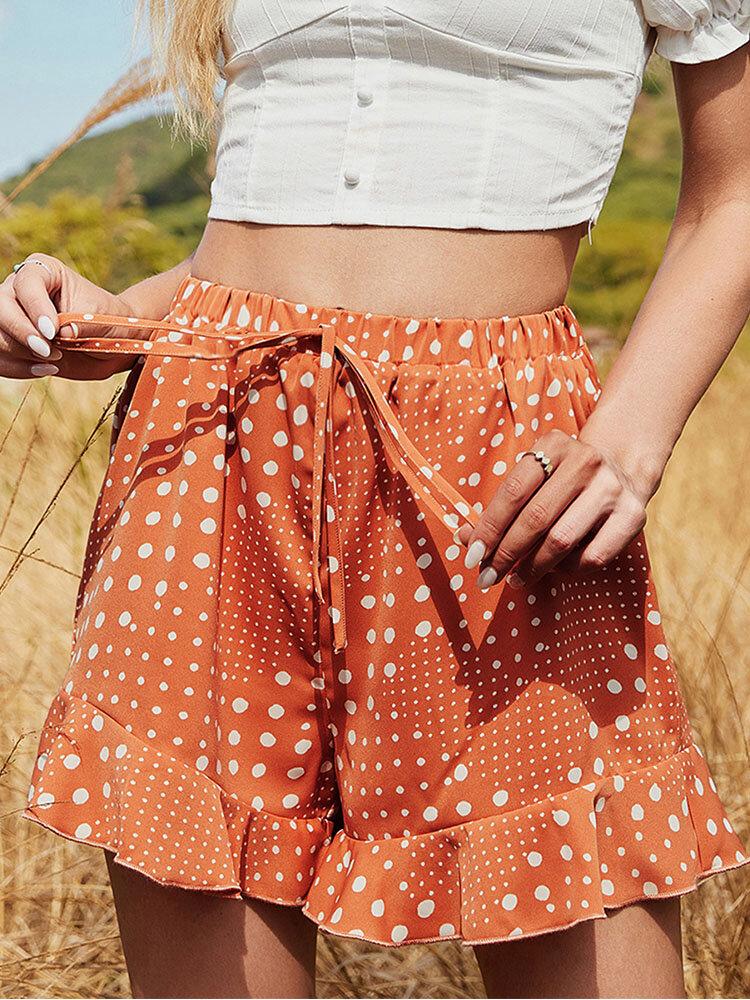 Dot Print Ruffle Hem Drawstring Elastic Waist Shorts