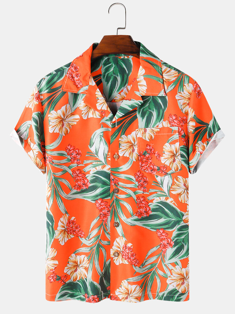 Mens Plant Leaf Printed Revere Collar Casual Short Sleeve Shirts With Pocket