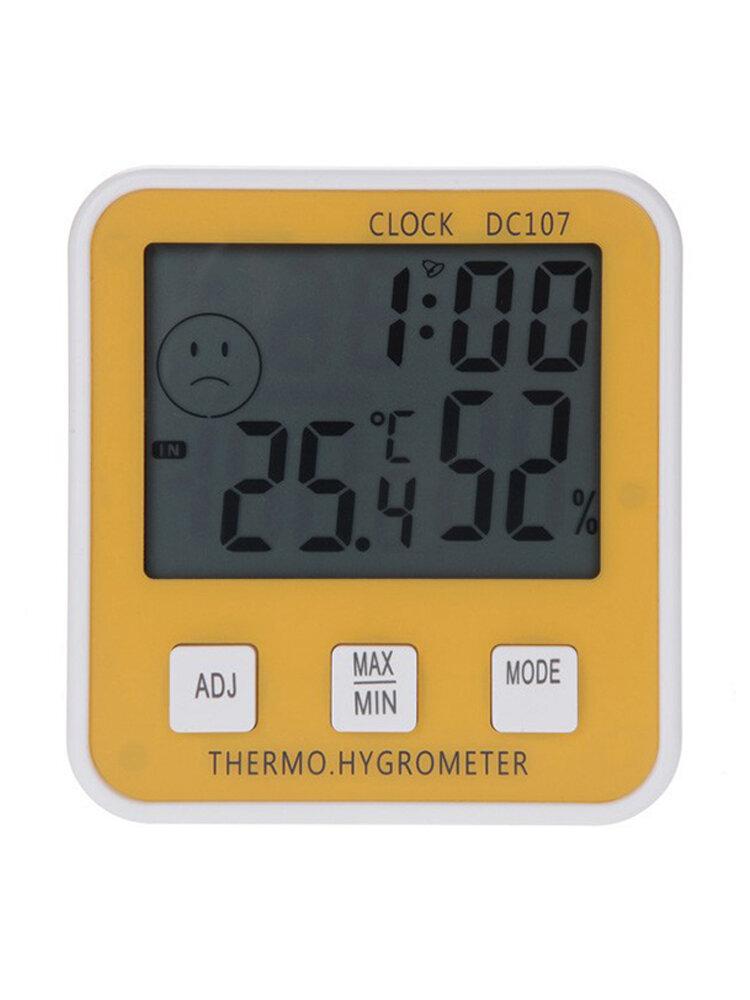 Large Digital LCD Indoor Temperature Humidity Meter Thermometer Hygrometer Clock