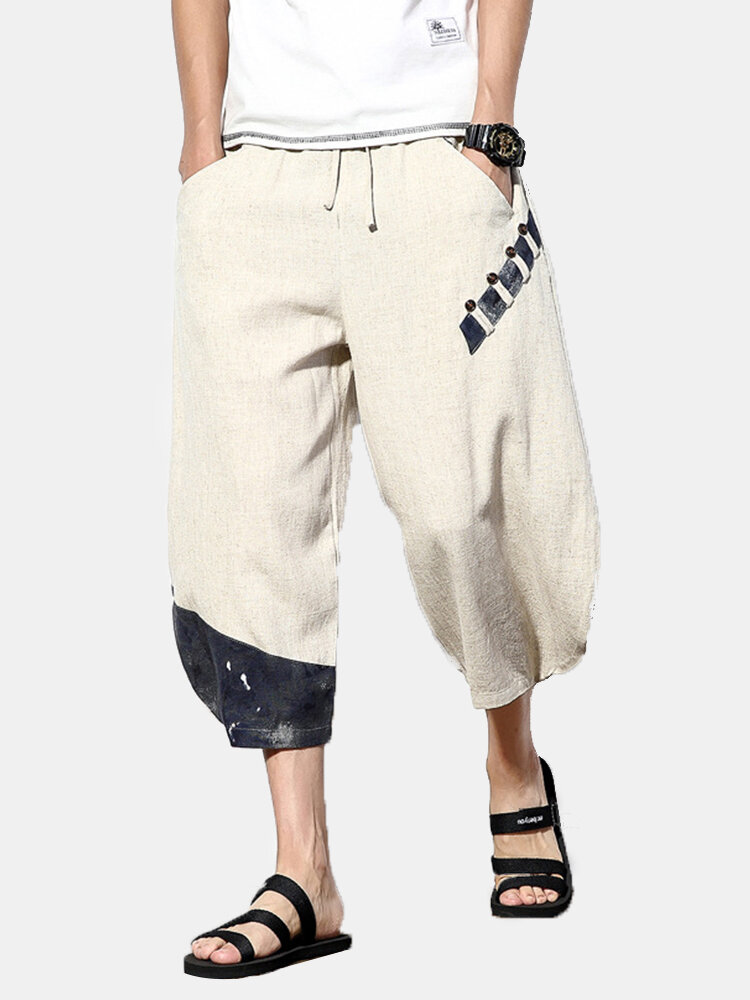 Mens Chinese Style Cotton Linen Calf Length Baggy Loose Drawstring Casual Pants