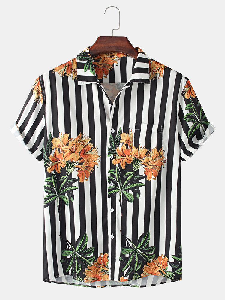 Mens Plant & Striped Print Button Up Holiday Short Sleeve Shirts