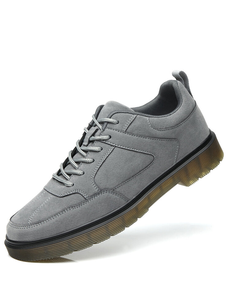 Men Round Toe Lace-up Non Slip Work Style Shoes