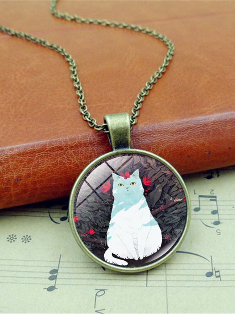 Vintage Glass Printed Women Necklace Butterfly Cat Pendant Sweater Chain Jewelry Gift
