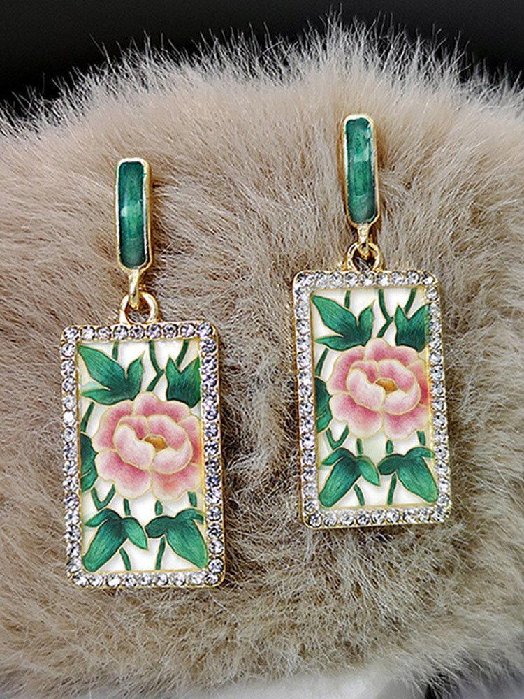 Vintage Rectangle Diamond Women Earrings Rose Print Enamel Pendant Earrings Jewelry Gift