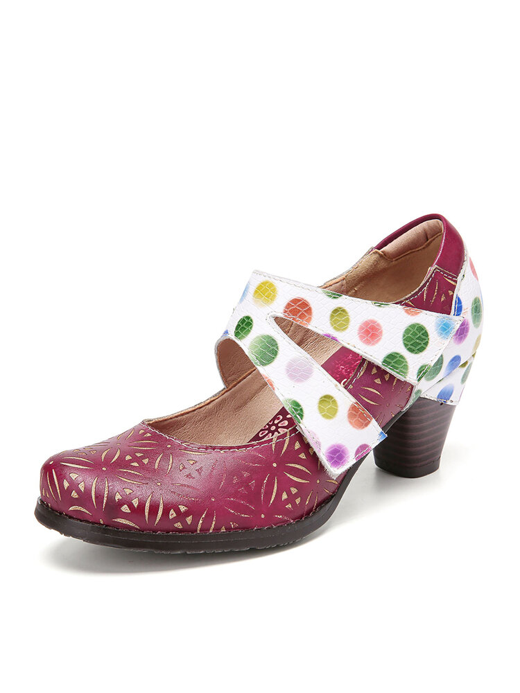 SOCOFY Floral Cutout Genuine Leather Comfy Wearable Ankle Strap Hook Loop Heel Shoes