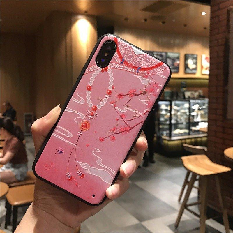 女性の流行のエンボス中国風アクリル電話ケースバックカバーiPhoneの落下防止