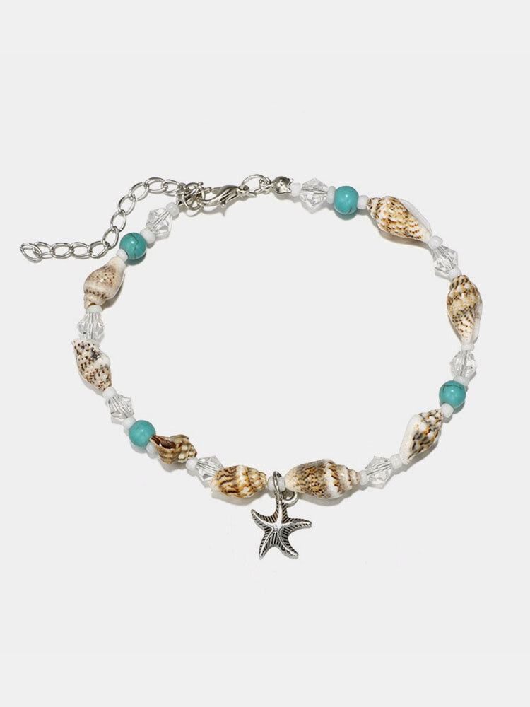 Retro Conch Beaded Yoga Anklet Alloy Sea Star Footwear For Women Handmade Anklet