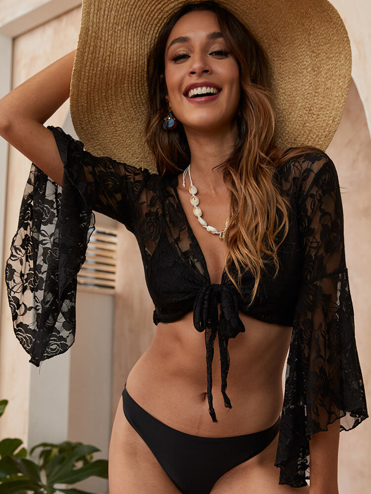 Women Jacquard See Through Tie Front Top Cover Up Black Swimsuit