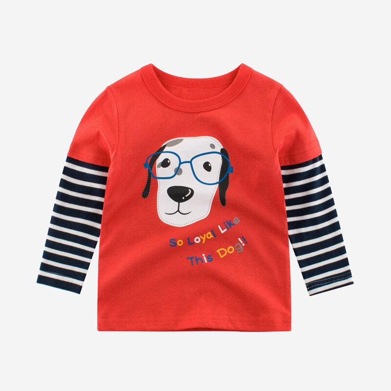 T-shirt ocasional dos retalhos listrados dos desenhos animados do menino para 2-10A