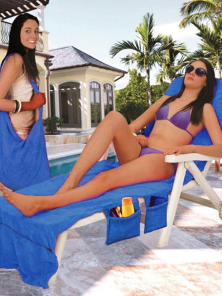 Lounger Mate Beach Towel Sun Lounger For Holiday Garden Lounge with Pockets