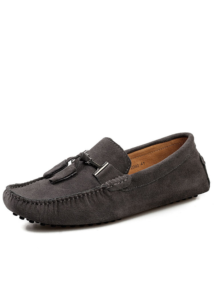 Men Non Slip Tassel Decoration Round Toe Hard Wearing Casual Suede Loafers