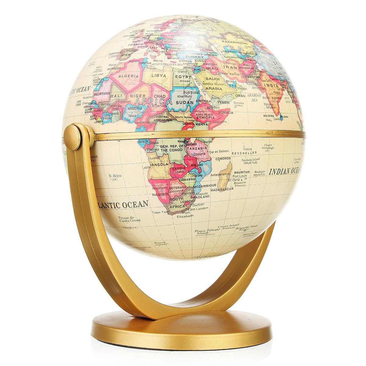 Retro Rotating Desktop Globes Earth Ocean Globe World Geography Table Decor Christmas Gift